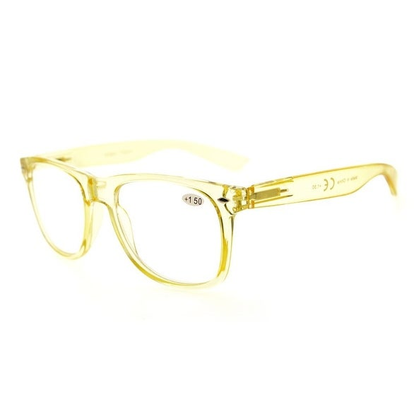 Eyekepper Comfortable Readers Spring Hinges Large Simple Reading Glasses RX Magnification (Yellow, +0.75)