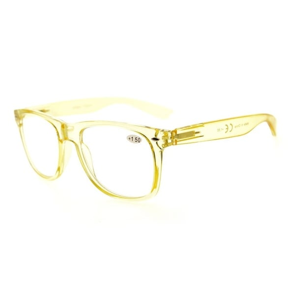 Eyekepper Comfortable Readers Spring Hinges Large Simple Reading Glasses RX Magnification (Yellow, +3.50)