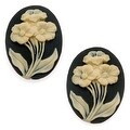 Vintage Style Lucite Cameo - Black With 3 Ivory Flowers 25x18mm (2 Pieces) - Thumbnail 0