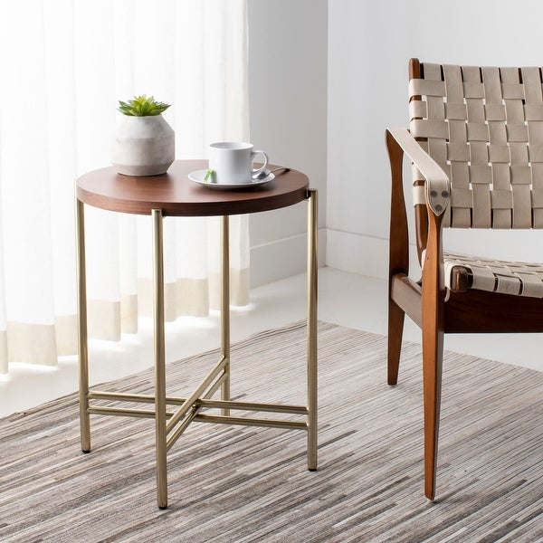 """SAFAVIEH Couture Cassie End Table - Natural / Gold - 19"""" W x 19"""" L x 22.1"""" H. Opens flyout."""
