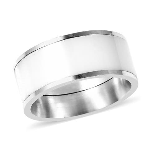 Shop LC White Stainless Steel Ceramic Band Style Ring Size 10.75