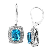 3 1/8 ct Natural Swiss Blue Topaz & 1/3 ct Diamond Drop Earrings in Sterling Silver