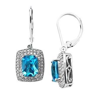 3 1/8 ct Natural Swiss Blue Topaz & 1/3 ct Diamond Drop Earrings in Sterling Silver