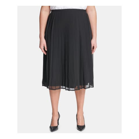 CALVIN KLEIN Womens Black Midi Pleated Skirt Size 18W