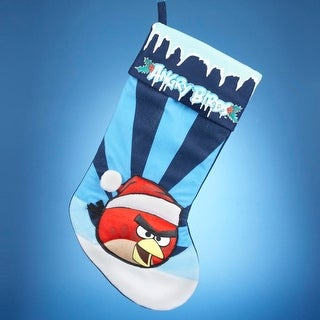 "21"" Angry Birds Red Bird in Santa Hat Striped Blue Christmas Stocking"