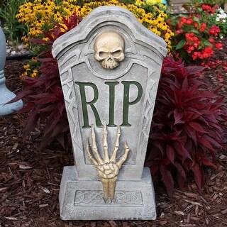 Sunnydaze RIP Graveyard Tombstone Outdoor Lawn Halloween Decoration - 24-Inch