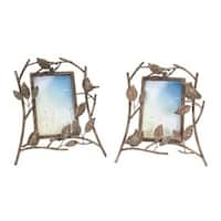 """Pack of 4 Antique Bronze Birds and Owls Table Top Picture Frames 10"""""""