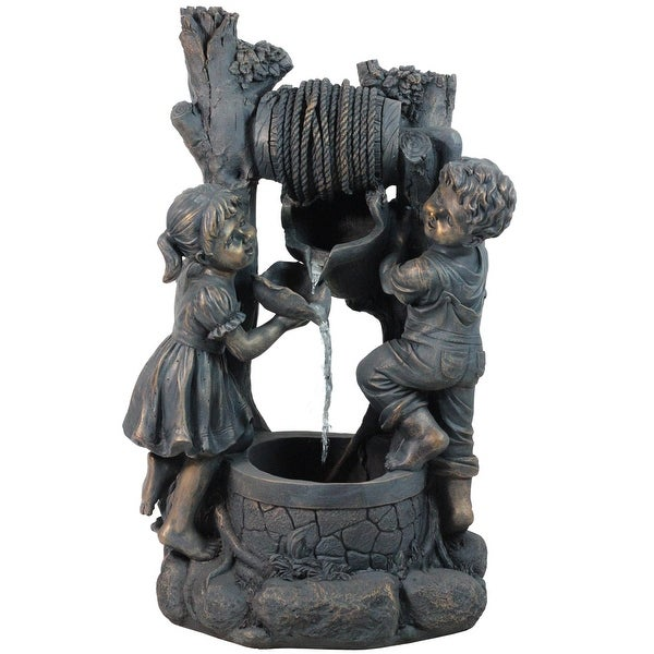 """30"""" Children at the Well Outdoor Patio Garden Water Fountain - N/A"""