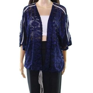 H.I.P. Blue Women's Size 1X Plus Floral-Lace Drawstring Hem Jacket