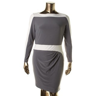 Lauren Ralph Lauren Womens Colorblock Pleated Wear to Work Dress