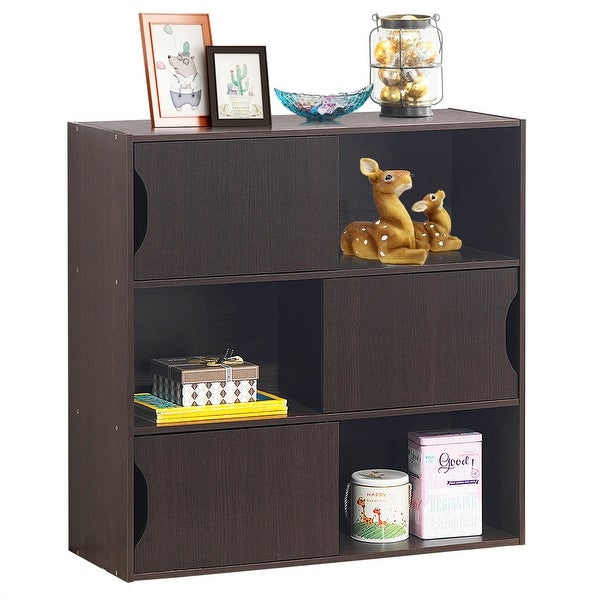 Costway 3-Tier Storage Shelf Cabinet Organizer Display Unit Bookcase