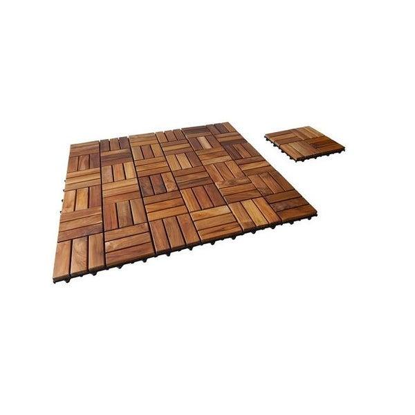 Shop Interlocking Teak Floor Tiles Oiled Finish Pack Of 10 Free