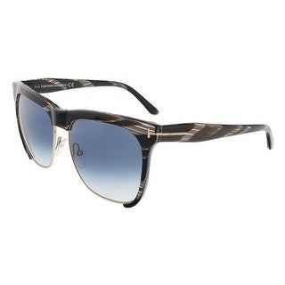 Tom Ford FT0366/S 60B Thea Brown Horn Clubmaster Sunglasses - brown horn - 57-16-140