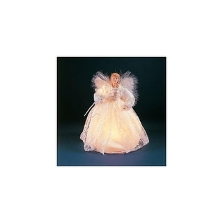 """9"""" Seasons of Elegance White Lace Angel Christmas Tree Topper - Clear Lights"""