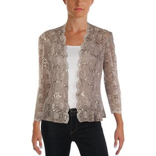 Alex Evenings Womens Cardigan Top Lace Sequined - 10