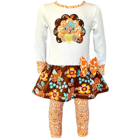 AnnLoren Big Little Girls Boutique Clothing Fall Outfit Floral Turkey Tunic & Leggings Set