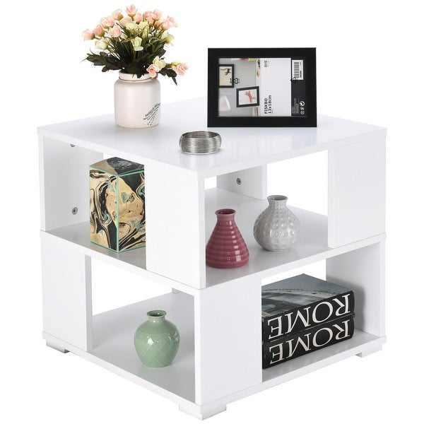 Gymax Modern Wood Square Coffee End Side Table with Storage Cube Shelves White