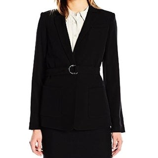 Calvin Klein NEW Black Career Women's Size 10 Two-Pocket Belted Jacket