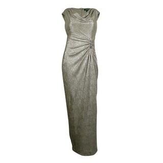 Ralph Lauren Women's Cowl Neck Embellished Metallic Long Dress
