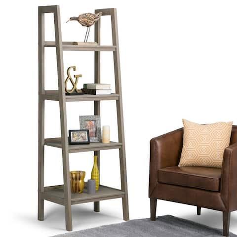 """WYNDENHALL Hawkins SOLID WOOD 72 inch x 24 inch Modern Industrial Ladder Shelf - 24""""w x 20""""d x 72"""" h"""