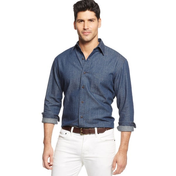 Club Room Long Sleeve Casual Button Front Shirt Blue Denim