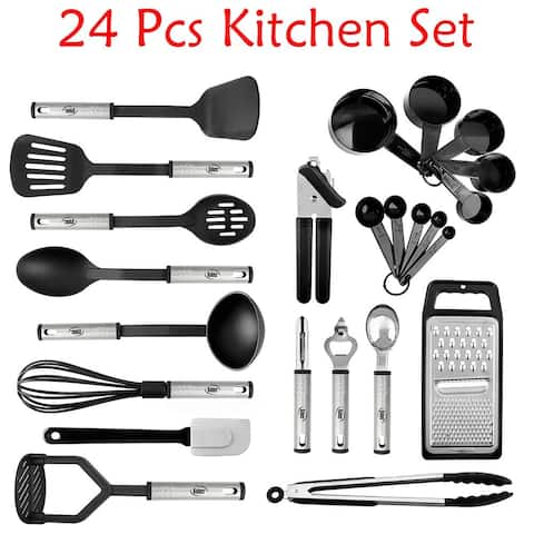 Kitchen Utensil set - Nylon / Stainless Steel Cooking / Baking Supplies - Non-Stick and Heat Resistant Cookware set - 3 Sizes