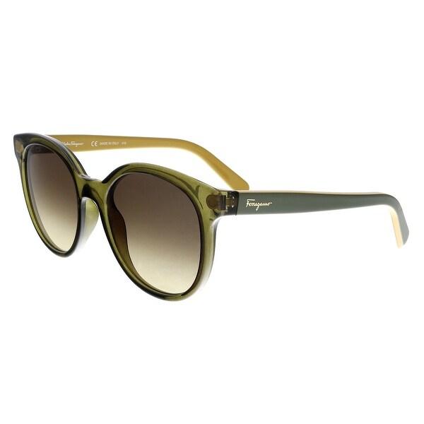 c57a5e978ad Shop Salvatore Ferragamo SF833S 323 Olive  Mustard Round Sunglasses ...