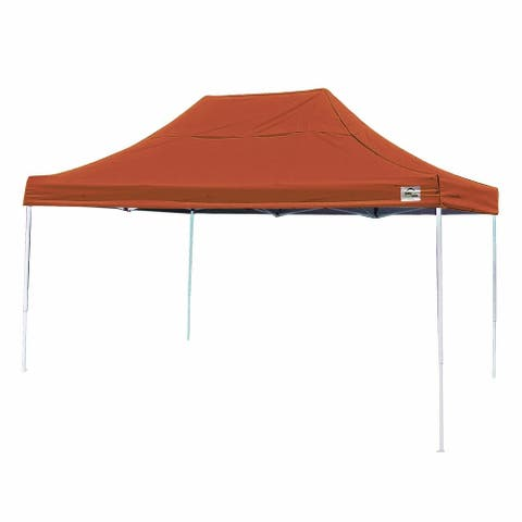 Shelterlogic 10' W x 15' L Straight Leg Pop-up Canopy, American Pride Terracotta Cover and Roller Bag / 22739