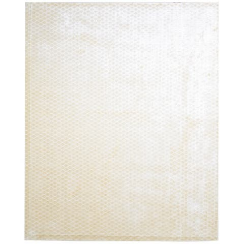 One of a Kind Hand-Woven Modern 8' x 10' Trellis Silk Cream Rug - 8' x 10'