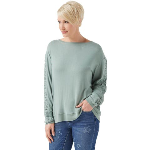 Peace Love World Womens Comfy Top with Ruched Sleeve X-Small Aqua Verde A353713