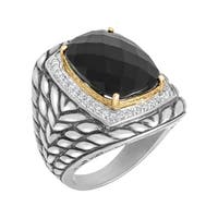 15 ct Onyx and 3/8 ct Diamond Ring in Sterling Silver and 14K Gold