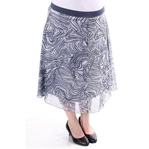 Alfani Womens Chiffon Marble Print A-Line Skirt Blue (XL) - X-Large
