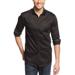 INC International Concepts Shirt Medium M Black Slim Fit & Non-Leather Accents