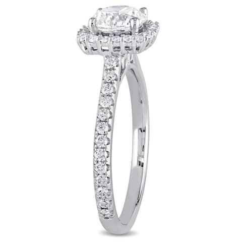 Miadora 14k White Gold 1 1/2ct TDW Certified Diamond Cushion Halo Engagement Ring (GIA)