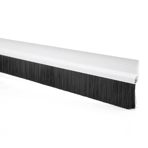 Self-Adhesive Door Bottom Sweep White w 1.2-inch Black Brush 40-inch x 2.1-inch