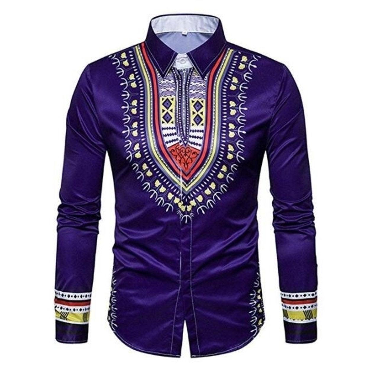 Mens Floral Dress Shirt Slim Fit Casual Printed Shirt Long Sleeve Button Down Shirts