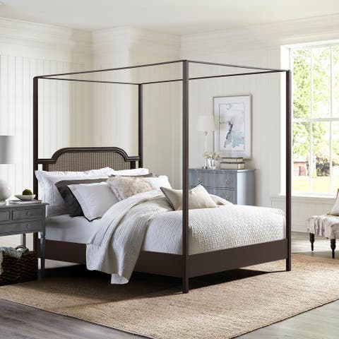 Hillsdale Furniture Melanie Wood and Metal Canopy Bed, Oiled Bronze