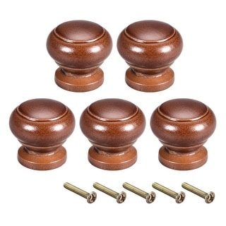 Cabinet Round Pull Knobs 27mm Dia Bedroom Kitchen Dark Red Elm Wood 5pcs - Red elm wood-27x25mm-5pcs