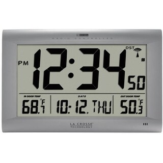 Atomic Digital Wall Clock with Outdoor Temperature, Silver