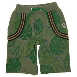 Mini Shatsu Boys Green Tropical Forest Elastic Waist Suspenders Shorts