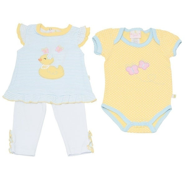 Duck Duck Goose Baby Girls Yellow Duck Applique Bodysuit 3 Pc Pant Outfit