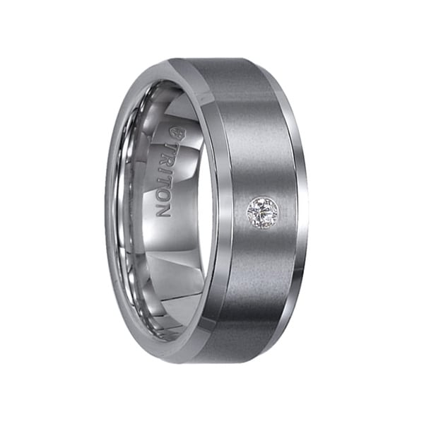 PHILLIP Beveled Tungsten Carbide Wedding Band with Satin Finish and Solitaire Diamond Setting by Triton Rings - 8 mm