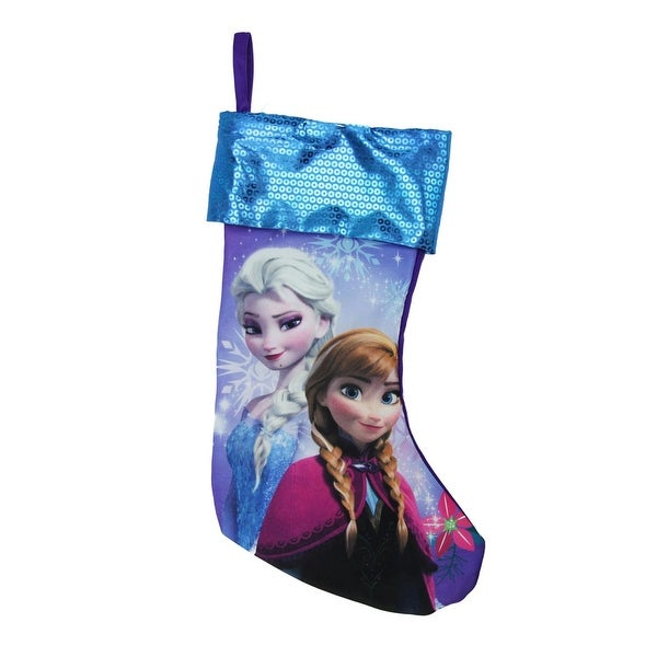 "17.5"" Blue and Purple Elsa and Anna Disney Frozen Christmas Stocking"