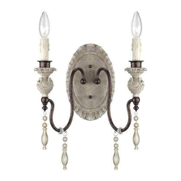 Millennium Lighting 7302 Denise 2-Light Indoor Wall Sconce - antique white/bronze
