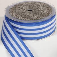 """Blue and White Striped Wired Craft Ribbon 1.5"""" x 27 Yards"""