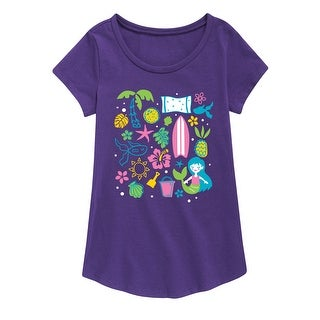 Tropical Icons - Youth Girl Short Sleeve Curved Hem Tee