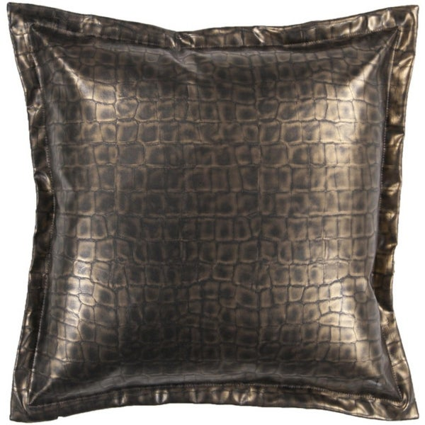 "18"" Metallic Gold Faux Crocodile Skin Decorative Throw Pillow"