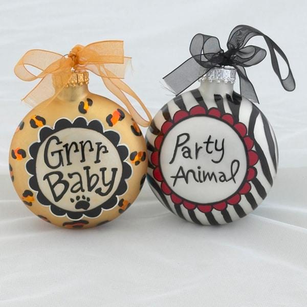 Set of 2 Diva Safari Party Animal and Grrr Baby Glass Disc Christmas Ornaments - multi