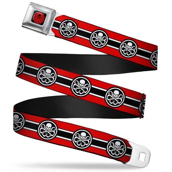 Marvel Avengers Hydra Logo Full Color Black Red Hydra Logo Stripe Red Black Seatbelt Belt