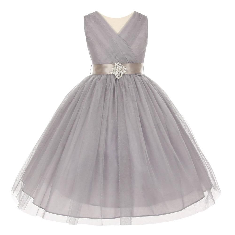 Shop Girls Silver Pleated Rhinestone